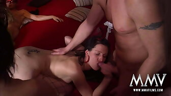 Bargain-priced beauties parceling out dicks beside gangbang