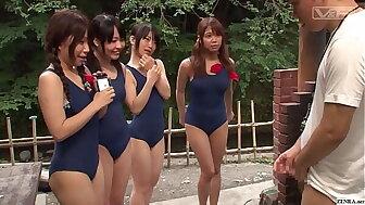 Japanese schoolgirls in all directions swimsuits CFNM handjob sporting house