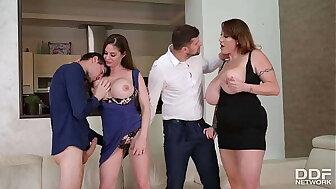 Tittyfucking Orgy alongside Sexual Nymphos Cathy Vault of heaven & Laura Orsolya
